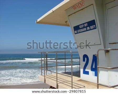 Lifeguard Tower Overlooking Ocean - stock photo