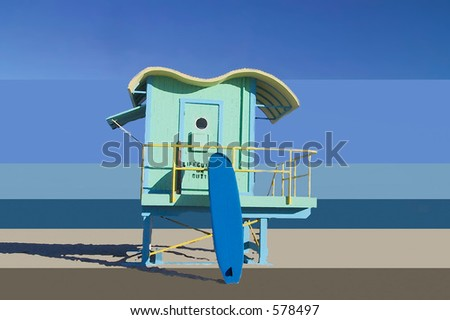Lifeguard tower with surfboard