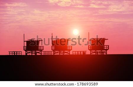 Lifeguard towers at Venice Beach,California - stock photo