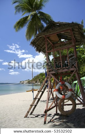 lifeguards tower on beach in nasugbu, batangas, the philippines