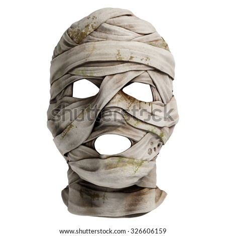 Lifelike mummy mask made of bandage. Front view. Photo realistic 3d render - stock photo