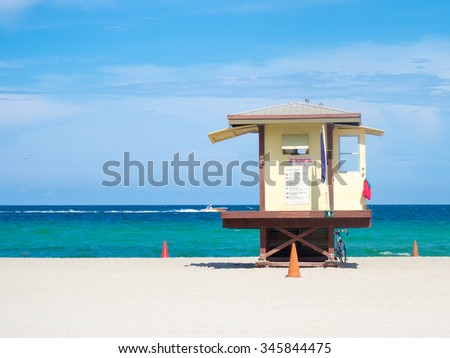 Lifesaver hut  at Fort Lauderdale beach in Florida on a summer day - stock photo