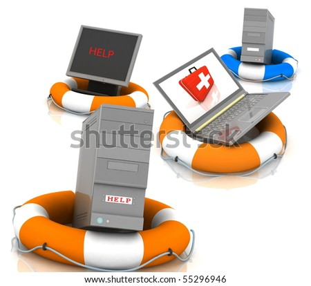 lifesavers for PC,  monitor and laptop - stock photo
