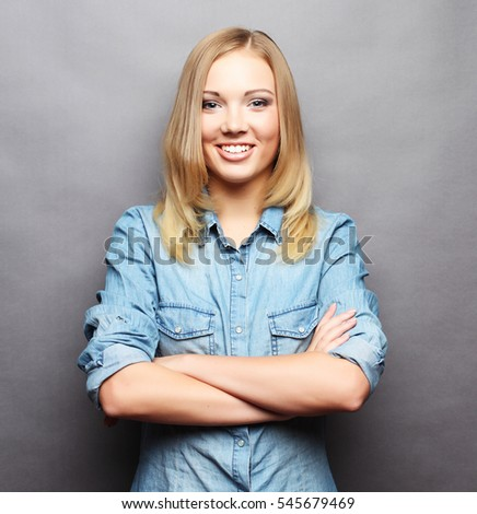 lifestyle  and people concept: Young cute smiling blond girl