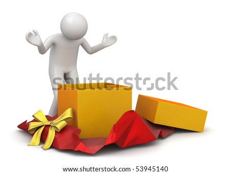 Lifestyle collection - Surprise while unwrapping present - stock photo