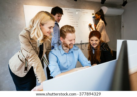 Lifestyle of businesspeople in modern office - stock photo