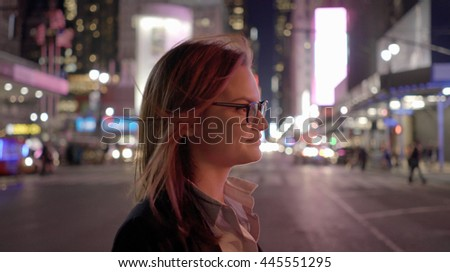 lifestyle portrait of attractive young women. happy smiling female model. urban city background - stock photo