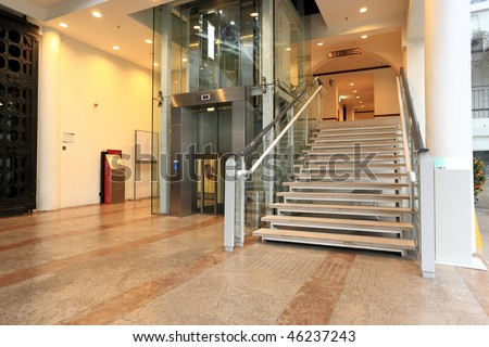 lift and stair - stock photo