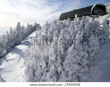 Lift at the top of the mountain - stock photo
