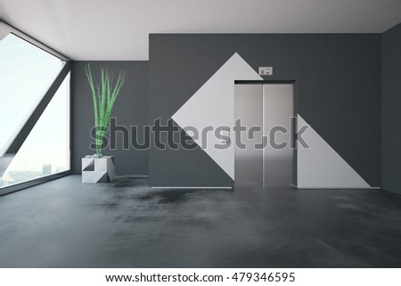 Lift in concrete interior with patterned walls, decorative plant and window with city view and daylight. 3D Rendering