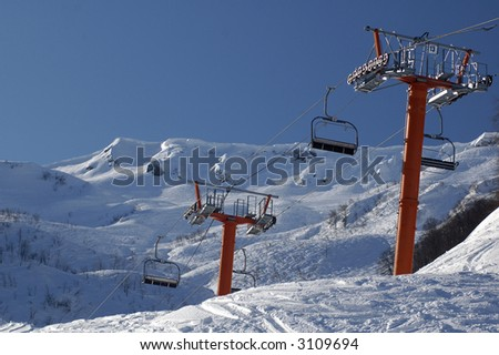 Lift in Krasnaya Polyana. Sochi - capital of Winter Olympic Games 2014. Russia.