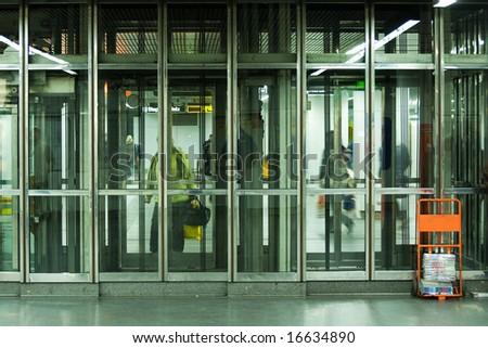 lift in metro (Vienna, Austria) - stock photo