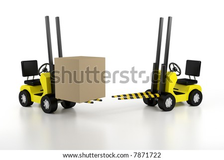 lift loader with the load and empty - stock photo