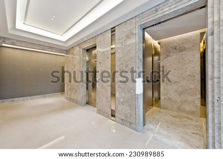 Lift lobby in beautiful marble without people  - stock photo