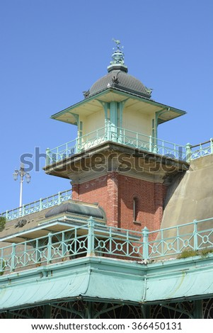 Lift or Elevator building on the seafront promenade at Brighton in East Sussex, England - stock photo