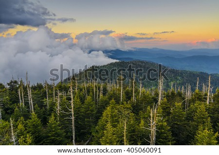 Lifting fog at sunset, Great Smoky Mountains - stock photo