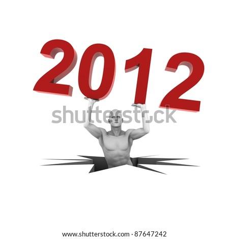 lifting year 2012 - stock photo