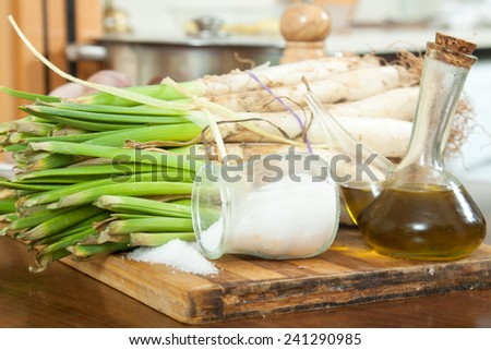 ligament of shallot   on cutting board in  kitchen - stock photo