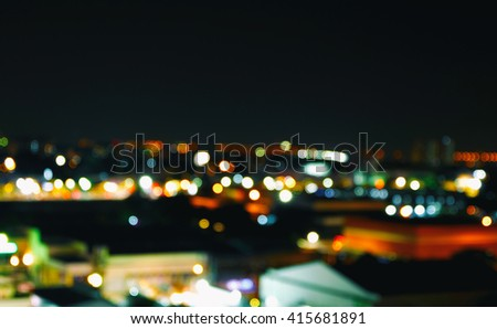 lighhts blured building from Pattaya , Thailand . - stock photo