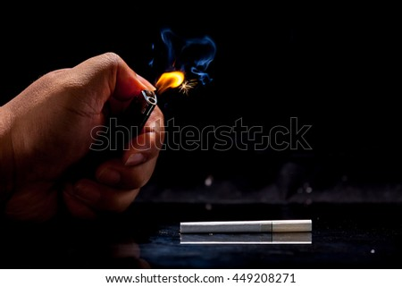 light a cigarette with lighter