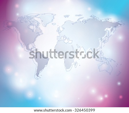 light abstract background with map of the world - stock photo