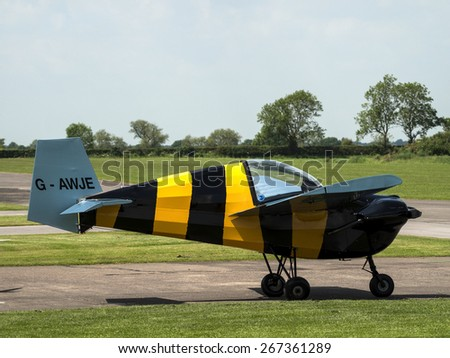 light aeroplane pilot at Breighton airfield, Yorkshire,Britain. taken 26/09/2014 - stock photo