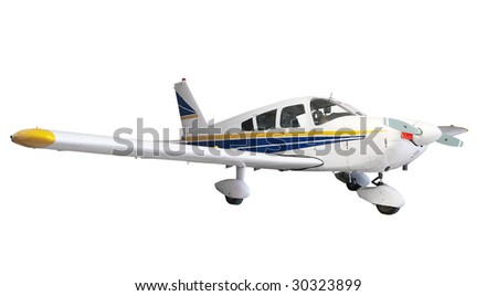 Light Aircraft isolated with clipping path - stock photo