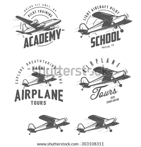 Light airplane related emblems, labels and design elements - stock photo