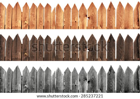 Light and dark old wooden fence isolated on white