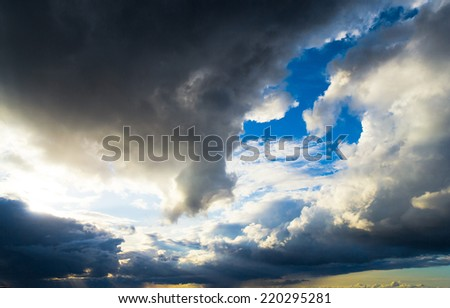 Light and Dark Spectacular Cloudscape  - stock photo