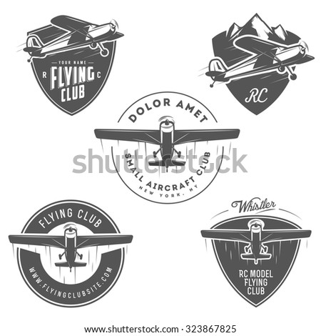 Light and RC airplane related emblems, labels and design elements - stock photo