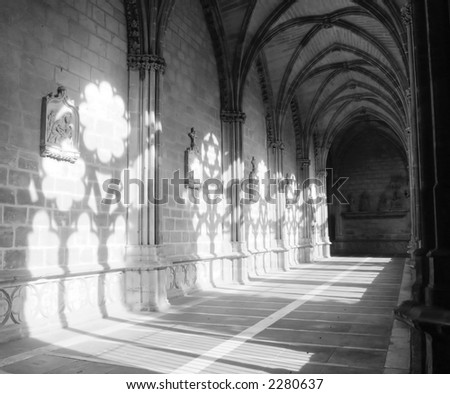 light and shade in the cloister of Pamplona Cathedral - stock photo