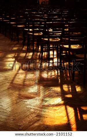 light and shadow in a church - stock photo