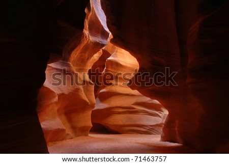 Light and shadow in the passage, Antelope canyon, Arizona - stock photo