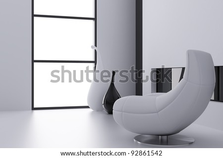 Light armchair and vases near a window in a modern interior - stock photo
