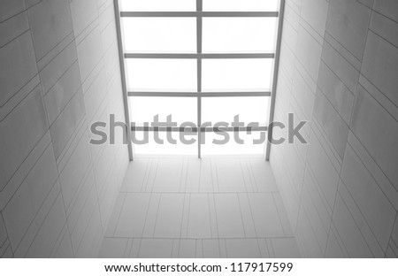 light at ceiling white window