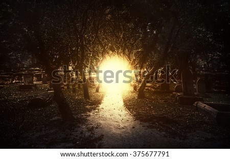 Light at the and of tunnel.Ancient cemetery around