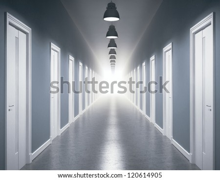 Light at the end of the corridor - stock photo