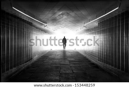 Light at the end of tunnel - stock photo