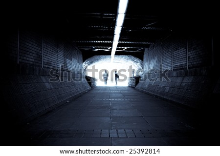 light atthe end of tunnel - stock photo