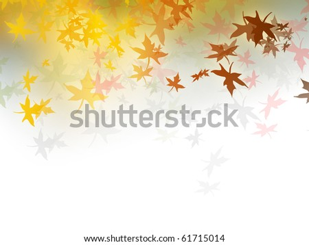 Light autumn background illustration with colorful fall leaves (gradient to white color) - stock photo