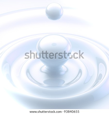 Light background: cream or milk glossy liquid drop with waves - stock photo