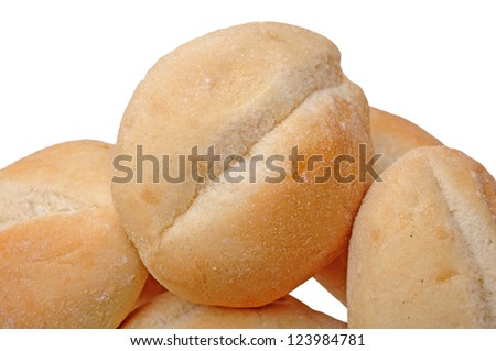 light baked bread isolated on white background