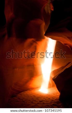 Light beam in the Upper Antelope Canyon - stock photo