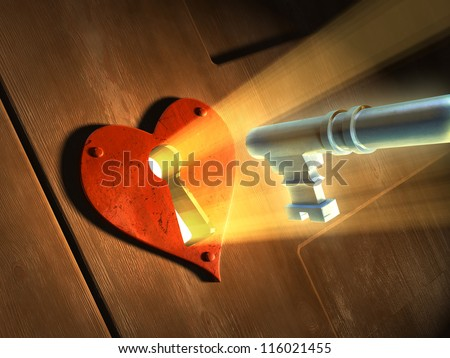 Light beams passing through an earth-shaped keyhole and illuminating a key in front of it. Digital illustration. - stock photo