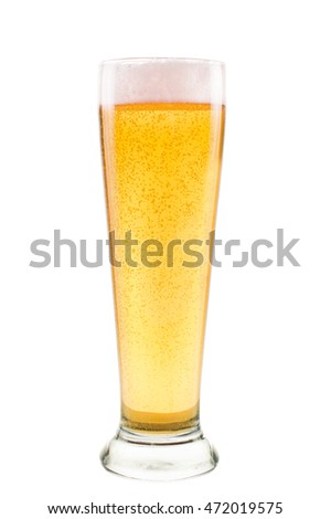 Light beer Glass isolated on white background.