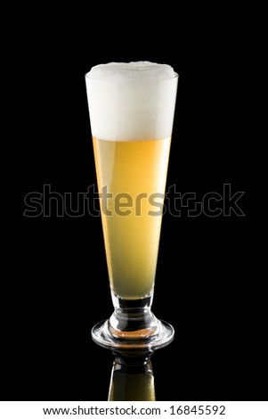 Light beer in a tall glass isolated on a black background