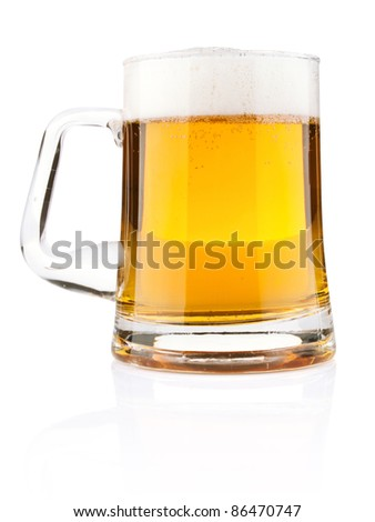 light beer in glass mug isolated on white background - stock photo