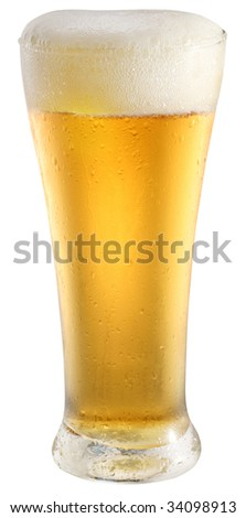 Light beer in glass on a white background