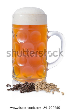 Light beer with foam in a large circle on a white background with barley and malt - stock photo